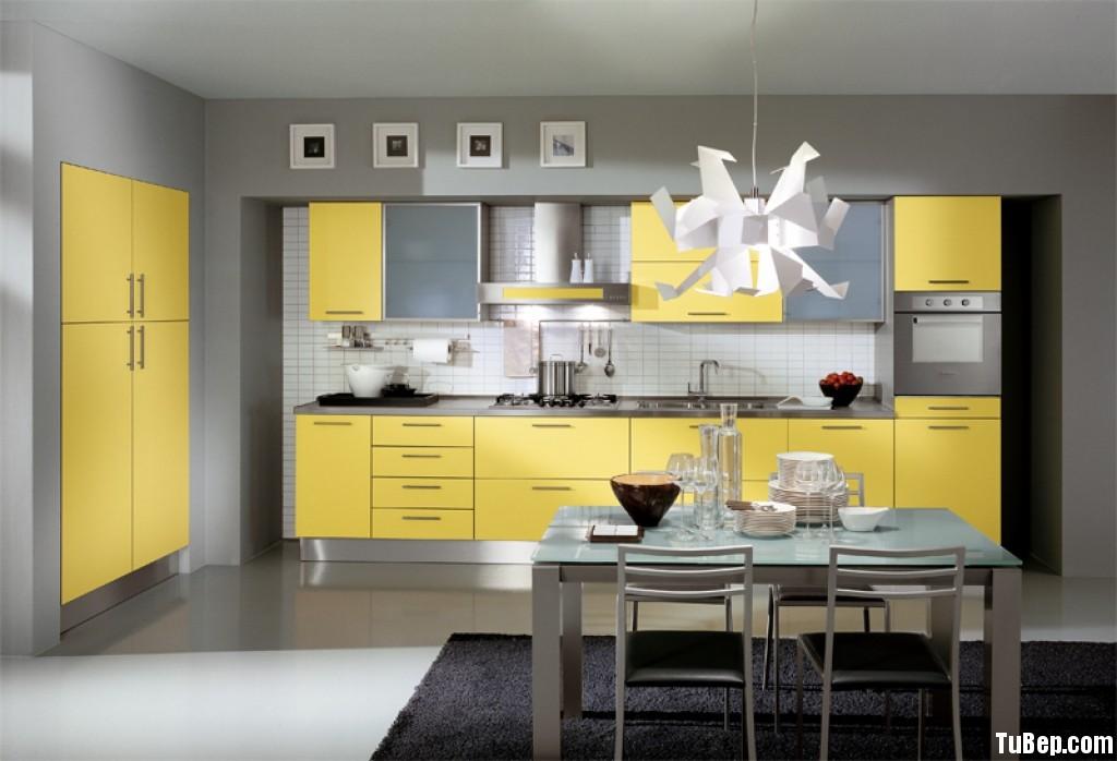 laminate vàng Tủ bếp gỗ Laminate màu vàng chữ I TBT0362