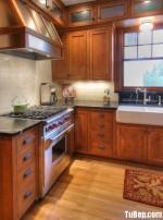 Tủ bếp gỗ Laminate màu vân gỗ xám hình chữ L có đảo TBT0760