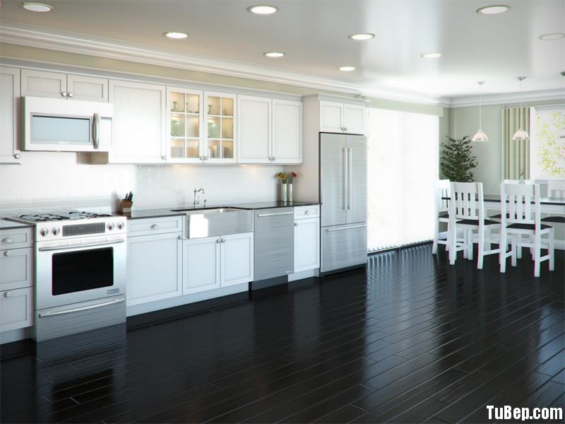 3107 2 Tủ bếp gỗ tự nhiên Dổi sơn men – TBB430