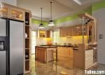 Tủ bếp gỗ tự nhiên Sồi Mỹ kết hợp bàn bar – TBB405