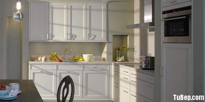 Xoan đào sơn men1 Tủ bếp gỗ xoan đào sơn men trắng chữ L TBT0344