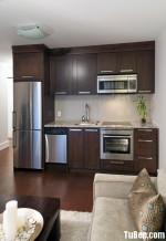 Tủ bếp gỗ tự nhiên Tần Bì sơn PU màu – TBB345