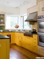 Tủ bếp gỗ tự nhiên Sồi Mỹ sơn men – TBB433