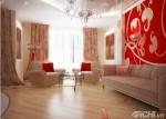 Phòng khách đẹp mắt với gam màu đỏ
