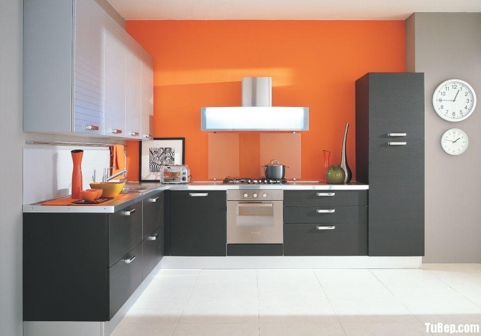 Laminate đen pha trắng sọc Tủ bếp gỗ Laminate chữ L màu xám pha trắng TBT0385