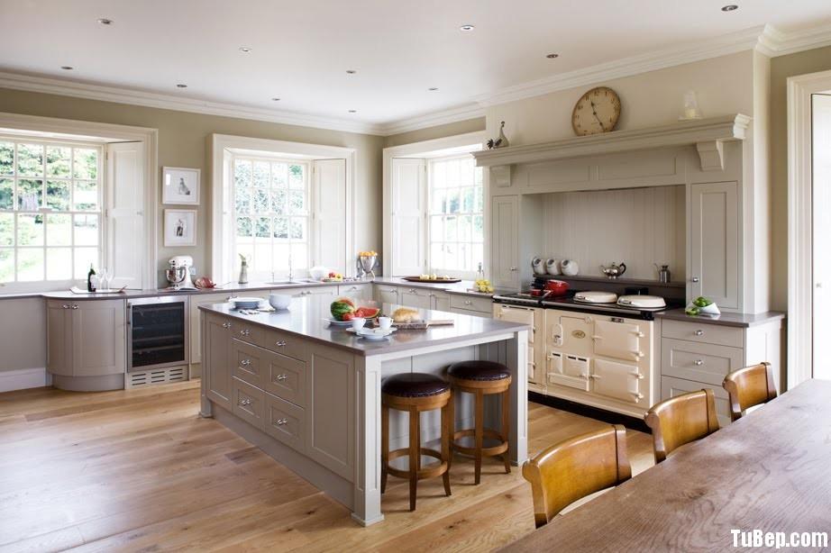 gỗ tự nhiên sơn men Tủ bếp gỗ Sồi sơn men trắng chữ L TBT0383