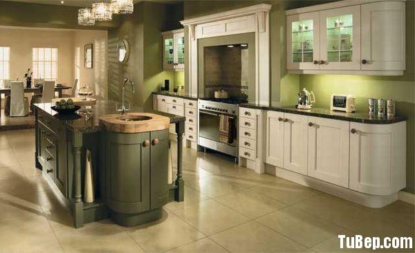 tự nhiên sơn men xanh rêu trắng Tủ bếp gỗ tự nhiên sơn men chữ I có đảo TBT0472