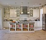 Tủ bếp gỗ tự nhiên sơn men trắng có đảo TBT0492