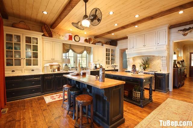 0508 3 Tủ bếp gỗ tự nhiên Sồi Mỹ sơn men trắng + Bàn đảo – TBB485