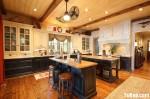 Tủ bếp gỗ tự nhiên Sồi Mỹ sơn men trắng + Bàn đảo – TBB485