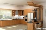 Tủ bếp gỗ Xoan Đào chữ L có quầy bar TBT0620