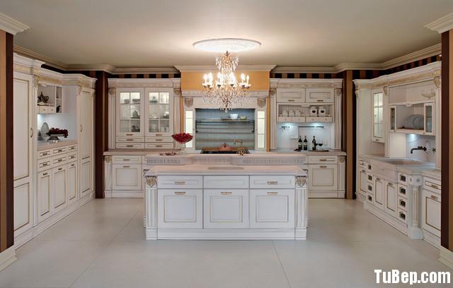traditional kitchen cabinets 43 Tủ bếp gỗ tự nhiên sơn men trắng chữ U có đảo TBT0593