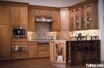 Tủ bếp gỗ tự nhiên chữ L có đảo TBT0532