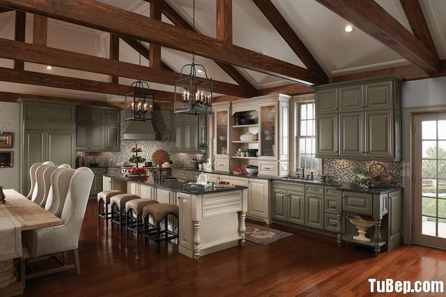 traditional kitchen cabinets 2 Tủ bếp gỗ Sồi sơn men màu trắng phối xám chữ L TBT0512