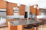 Tủ bếp gỗ tự nhiên chữ I có đảo TBT0564