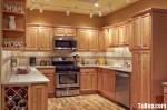 Tủ bếp gỗ Xoan Đào chữ U có bar gắn liền TBT0596