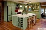 Tủ bếp gỗ tự nhiên sơn men trắng + bàn đảo – TBB585