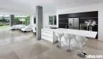 Tủ bếp gỗ Laminate chữ I màu trắng phối đen TBT0570