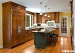 Tủ bếp gỗ tự nhiên Xoan Đào kết hợp bàn đảo – TBB487