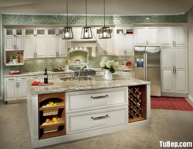 traditional kitchen cabinets 36 Tủ bếp gỗ Xoan đào sơn men trắng chữ I có đảo TBT0622