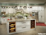 Tủ bếp gỗ Xoan đào sơn men trắng chữ I có đảo TBT0622