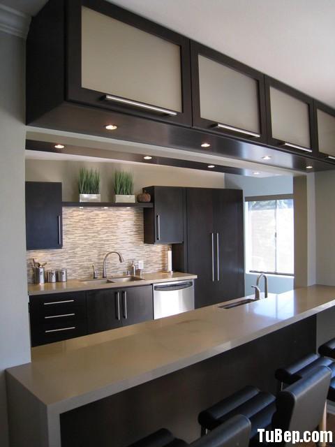 bếp đẹp Tủ bếp MDF Laminate + bàn Bar – TBB577