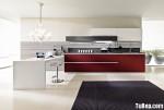 Tủ bếp gỗ Laminate chữ I kết hợp 3 màu trắng, xám và đỏ TBT0625