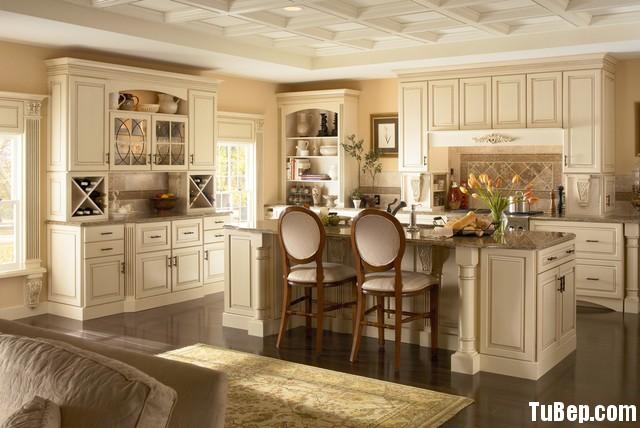 traditional kitchen cabinets 6 Tủ bếp gỗ tự nhiên sơn men trắng chữ L có đảo TBT0528