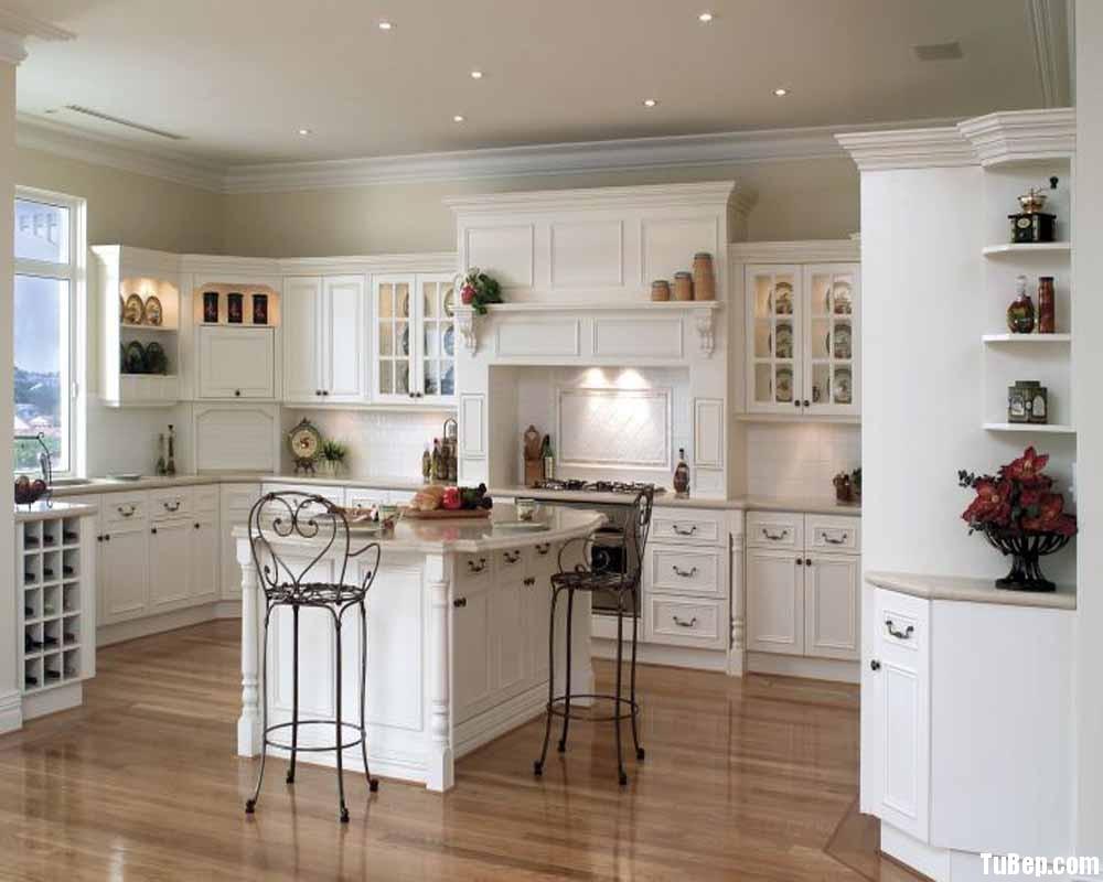 tự nhiên sơn men trắng Tủ bếp gỗ tự nhiên sơn men trắng có đảo TBT0496
