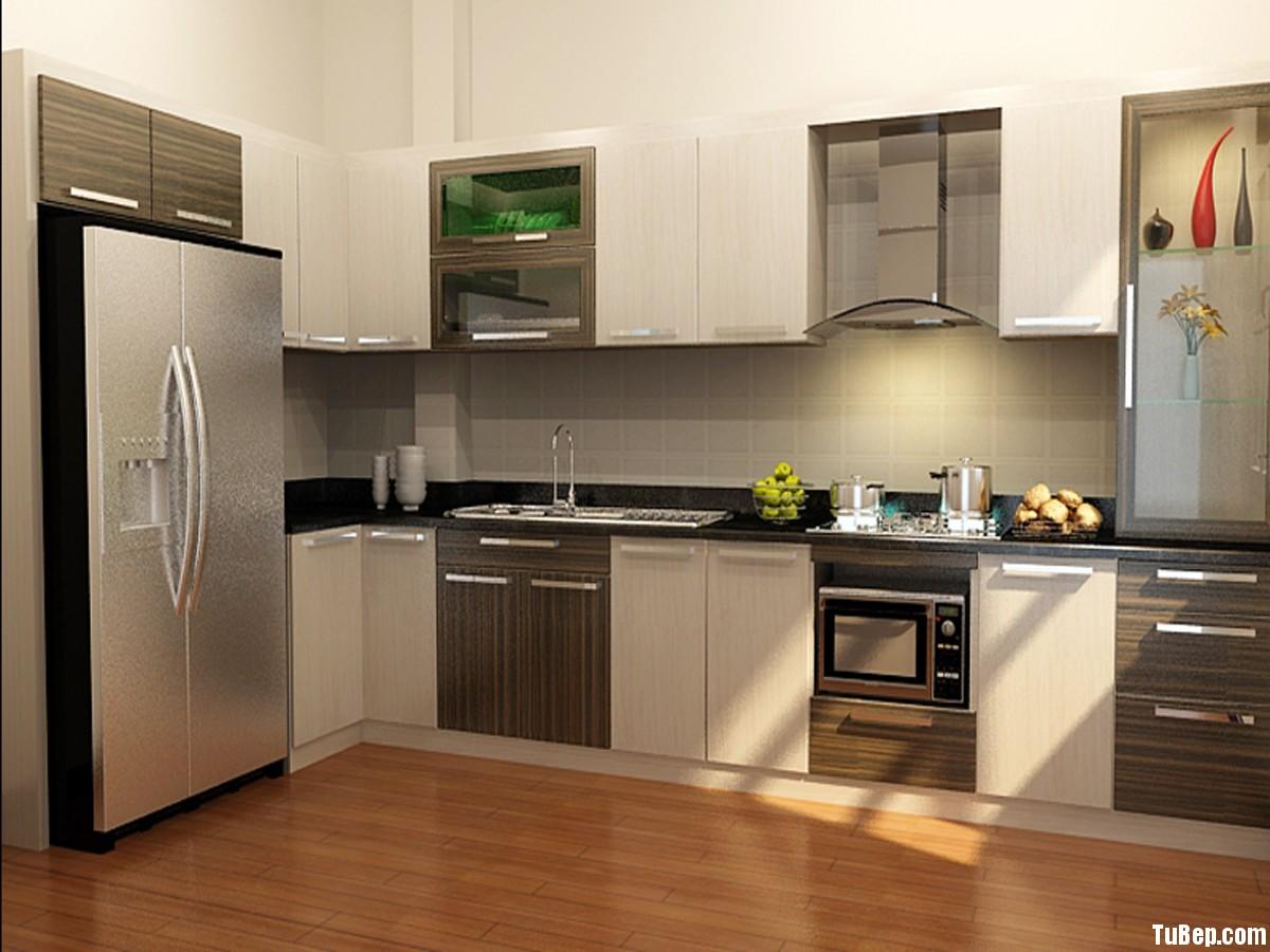 LAMINATE2 Tủ bếp gỗ Laminate màu trắng kết hợp vân gỗ sọc TBT0502