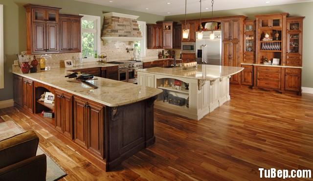 tu bep go tu nhien 22 Tủ bếp gỗ tự nhiên sơn men trắng kết hợp vân gỗ TBT0590