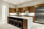 Tủ bếp laminate màu vân gỗ chữ L có đảo TBT0527