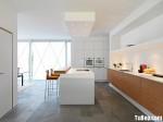 Tủ bếp gỗ Laminate phối Acrylic chữ I TBT0535