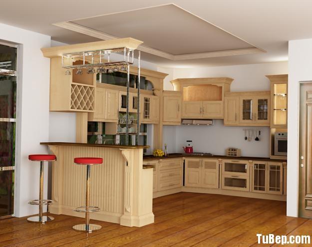 0608 1 Tủ bếp gỗ tự nhiên Sồi sơn men kết hợp bàn bar – TBB489
