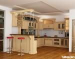 Tủ bếp gỗ tự nhiên Sồi sơn men kết hợp bàn bar – TBB489