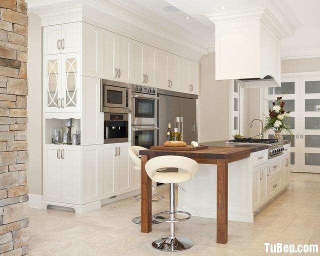 traditional kitchen cabinets 48 Tủ bếp gỗ tự nhiên sơn men trắng chữ I TBT0604