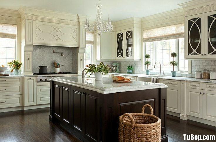 sơn men đen trắng Tủ bếp gỗ Sồi sơn men đen kết hợp trắng TBT0476