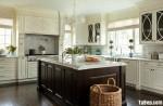 Tủ bếp gỗ Sồi sơn men đen kết hợp trắng TBT0476