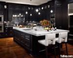 Tủ bếp gỗ tự nhiên sơn men màu đen chữ L có đảo TBT0551