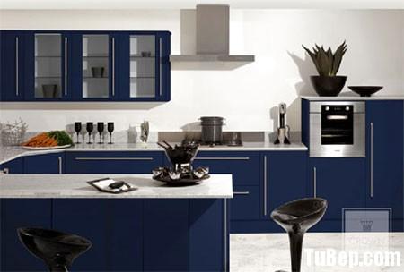 laminate xanh Tủ bếp gỗ Laminate chữ U màu xanh dương TBT0499