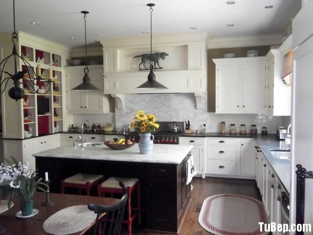1606 sồi sơn men Tủ bếp gỗ tự nhiên sơn men trắng + bàn đảo – TBB564