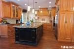 Tủ bếp gỗ Xoan Đào chữ U có đảo TBT0592