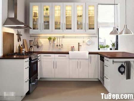 sơn men trắng1 Tủ bếp gỗ tự nhiên sơn men trắng chữ U TBT0484