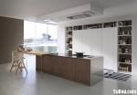 Tủ bếp gỗ Laminate màu trắng phối vân gỗ chữ I TBT0624