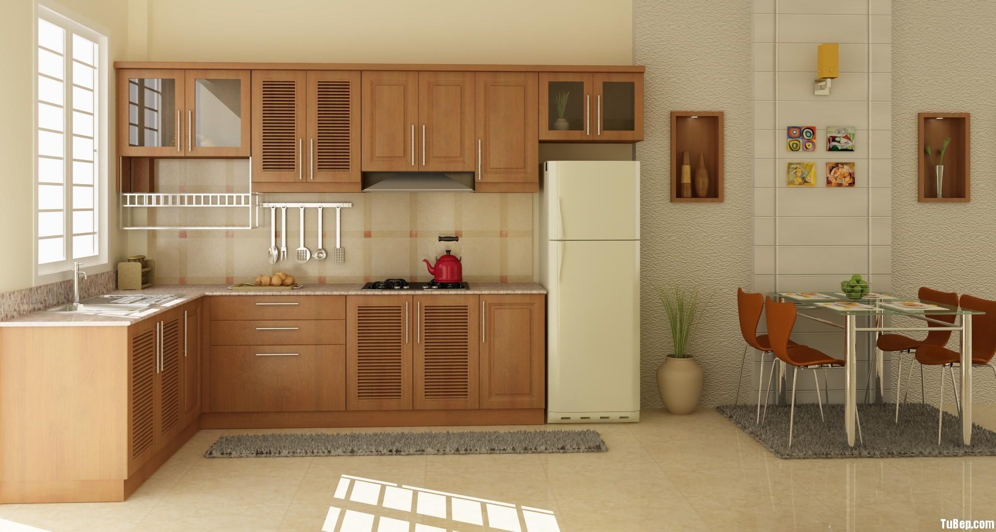xoan đào 1406 Tủ bếp gỗ Sồi Nga – TBB566