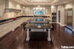 Tủ bếp gỗ Sồi tự nhiên màu trắng có đảo chữ L TBT0581