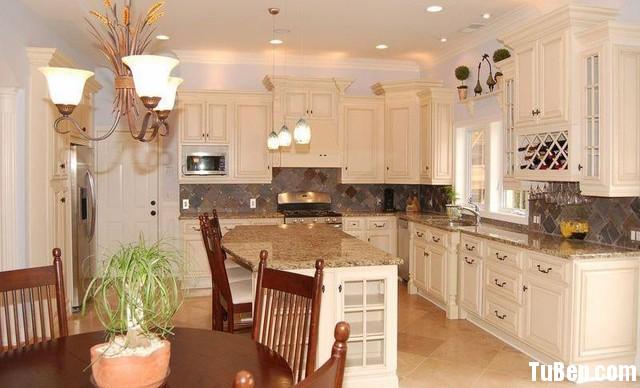 traditional kitchen cabinets 301 Tủ bếp gỗ tự nhiên sơn men chữ L có đảo TBT0619