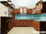 Tủ bếp gỗ xoan đào có bàn bar – TBB481