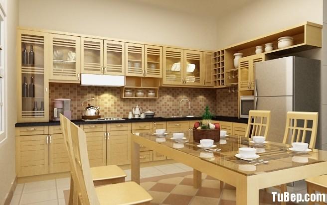 gỗ tự nhien Tủ bếp gỗ Xoan đào chữ L sơn men màu mỡ gà TBT0489