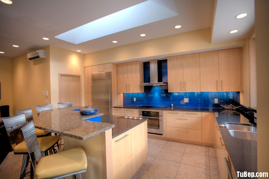 laminate0 Tủ bếp gỗ Laminate chữ L màu vân gỗ sáng TBT0475